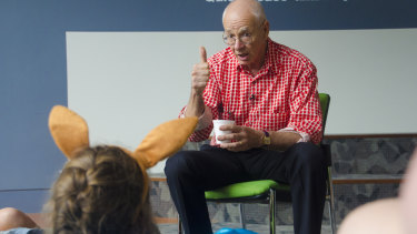 Dr Karl explaining all things science at a Q&A for Lady Cilento Children's Hospital School students on Thursday.