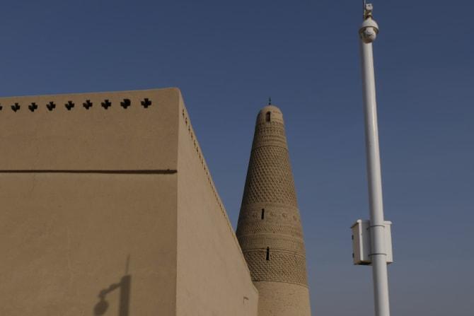 A surveillance camera at the famous Emin Minaret in Turpan, Xinjiang.