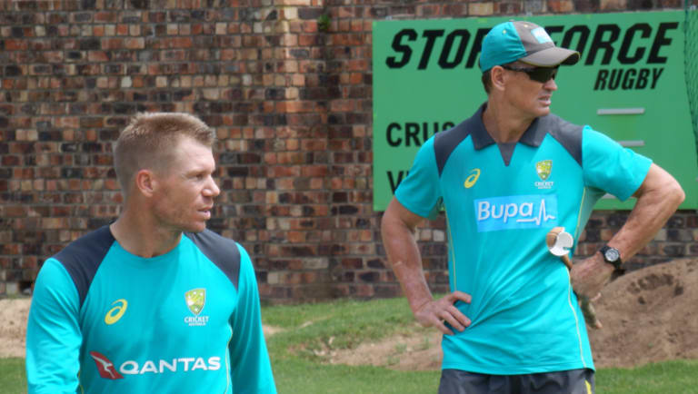 David Warner, who was at the centre of the drama in Durban, with batting coach Graeme Hick during a training session ahead of the second Test in Port Elizabeth.
