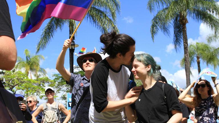 Emotional scenes in Brisbane as love wins landslide victory.