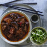 Neil Perry's braised pork belly with black beans and shiitake mushrooms