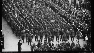 Victory march of the 2nd Australian Imperial Force corps troops during the peace celebrations held in Macquarie Street, Sydney, 16 August 1945