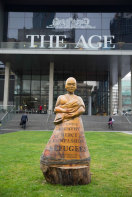 The asylum seeker piece by Leigh Conkie, outside the former headqurters of <i>The Age</i> in Collins Street.