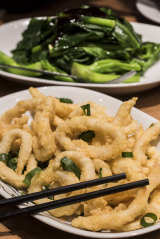 Salt and pepper squid and token greens.