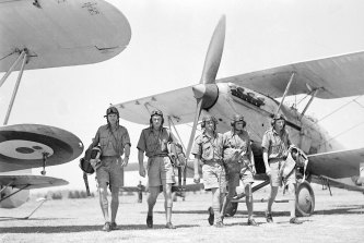 RAAF pilots and crew during training at Richmond Aerodrome in 1940.