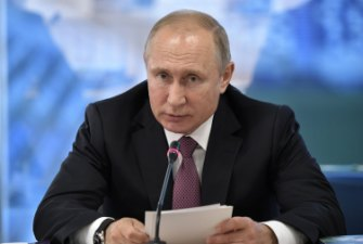 Russian President Vladimir Putin speaks during a meeting with local officials in Kaliningrad, Russia.