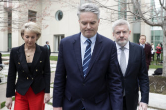 Michaelia Cash, Mathias Cormann and Mitch Fifield announce their resignations from the ministry on August 23, 2018.