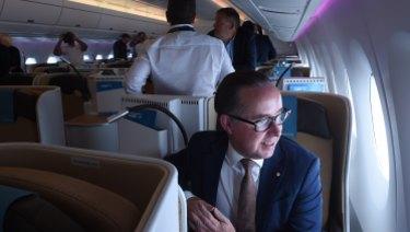 Qantas CEO Alan Joyce on board the Airbus A350-1000 in Sydney.