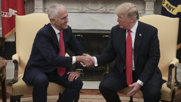Malcolm Turnbull and Donald Trump meet in the White House.