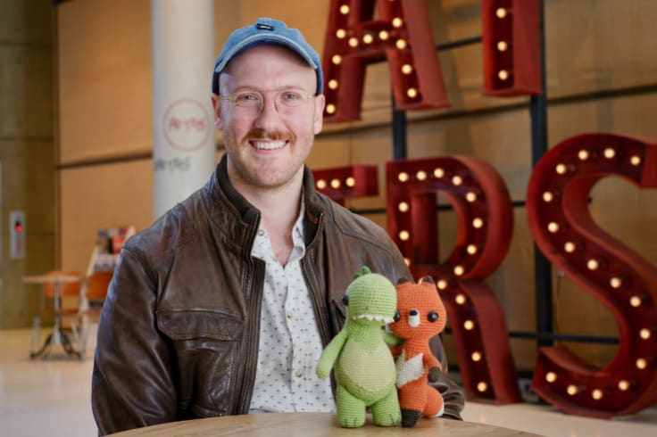 """""""I usually tend to save dialogue until I absolutely need it to tell the story"""": Bradley Slabe withthe models for the animated film."""