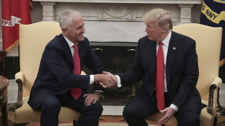 Malcolm Turnbull and Donald Trump in the Oval Office last month.