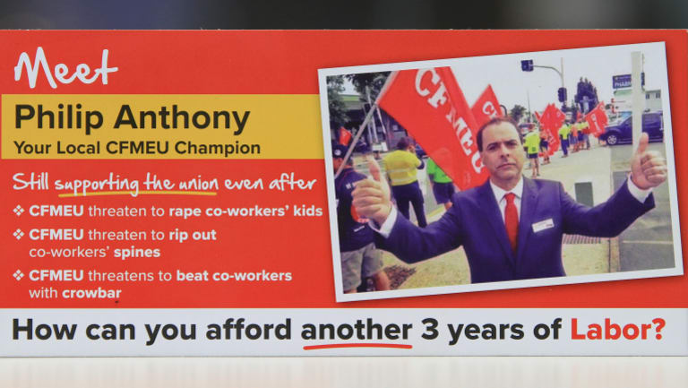 An election flyer attacking Labor candidate for Clayfield Philip Anthony.
