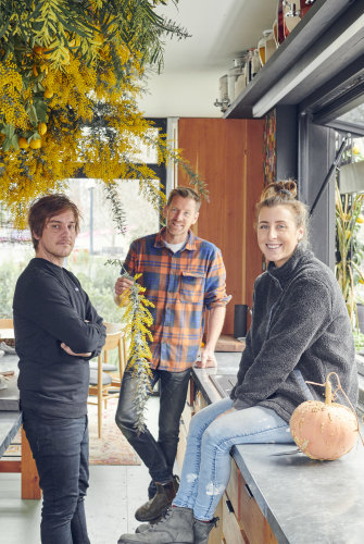 """Matt Stone, left, Joost Bakker and Barrett in the Future Food System kitchen. All produce is grown on site: """"It's food metres, not miles,"""" says Barrett."""