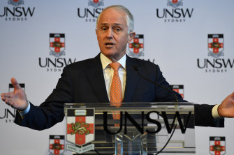 Malcolm Turnbull speaks at the University of New South Wales (UNSW) last Tuesday.