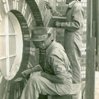 Arthur Heath (Joanne's father) at work on one of the restorations of The Old Museum c. 1950-60