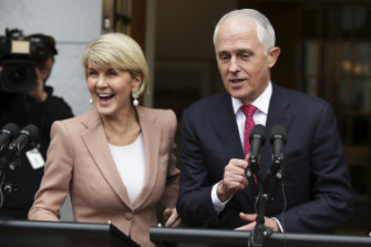 Then-deputy Liberal leader Julie Bishop and Prime Minister Malcolm Turnbull speak to the media after the first challenge.