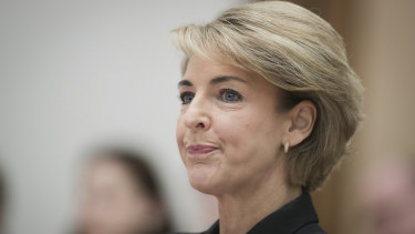 Jobs and Innovation Minister Michaelia Cash during the Wednesday estimates hearing where she made the threat to name staffers who were the subject of rumours.