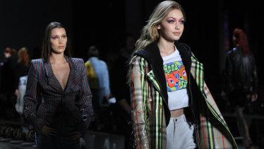 Gigi and Bella Hadid at the Anna Sui show.