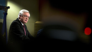 British Secretary of State for Exiting the European Union, David Davis, at EU headquarters in Brussels on Monday.