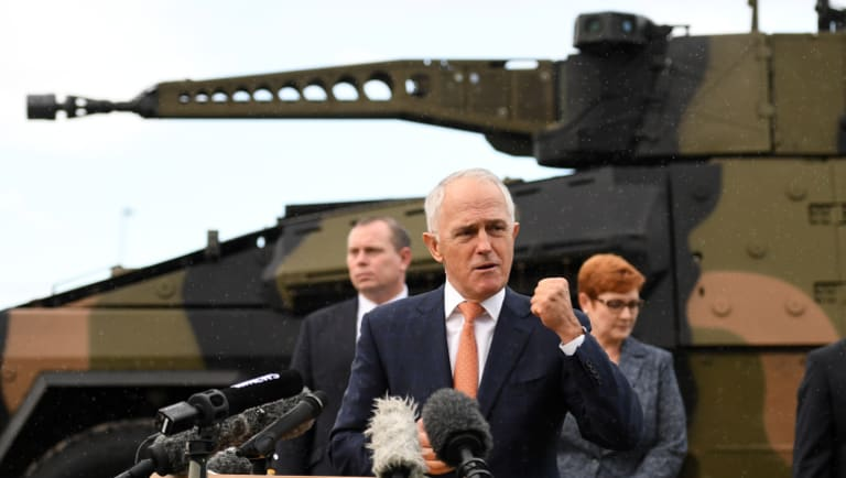 Prime Minister Malcolm Turnbull announces Rheinmetall will build armoured vehicles in Redbank.