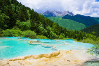 The Huanglonggou (Yellow Dragon Gully) in Sichuan Province, China.