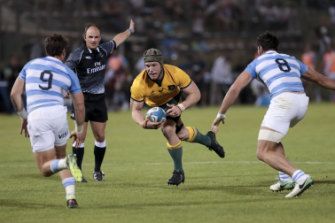Outside chance: David Pocock carries for the Wallabies in Argentina.