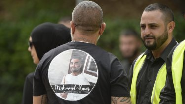 "Mourners at Mohammed ""Mick"" Hawi funeral at Arncliffe Mosque."