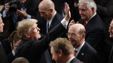 Trump arrives before the State of the Union address.