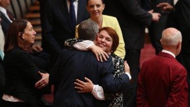 Kitching celebrates her maiden Senate speech with Bill Shorten.