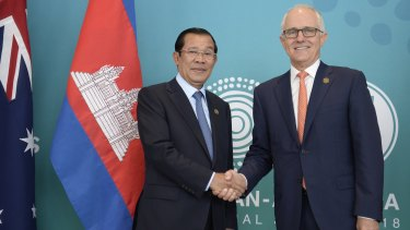 Malcolm Turnbull with Cambodian PM Hun Sen at the ASEAN meeting in Sydney last week.