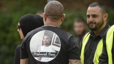 """Mourners at Mohammed """"Mick"""" Hawi funeral at Arncliffe Mosque."""