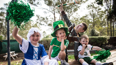 Niamh Mulligan, Finn Hughes, Aidan Mulligan and Cian Mulligan pose ahead of the parade.