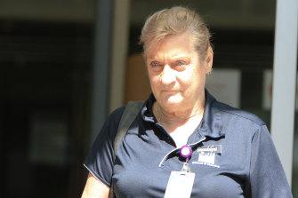 Gwendolyne Neuendorf, the mother of Brad Keleher, leaves the Brisbane Magistrates Court.