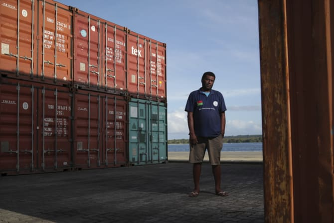 Santo harbor master Terry Ngwele at the new wharf in Luganville.