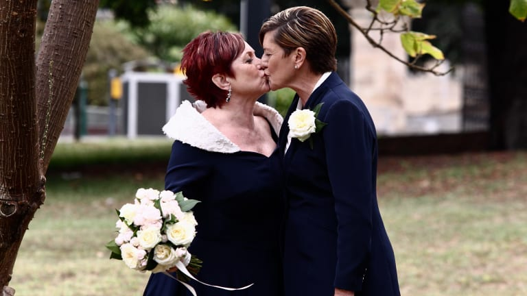 Christine Forster and Virgina Edwards in the Royal Botanical Gardens before the ceremony .