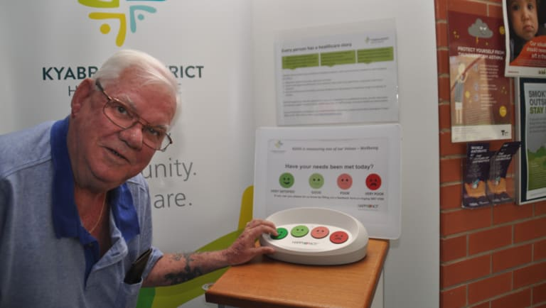 Brian Geoffrey rates Kyabram District Health Services using a HappyOrNot terminal.