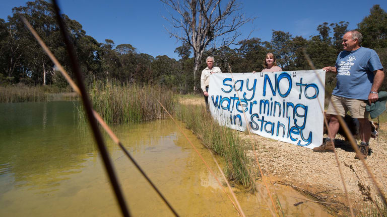 Stanley residents protest  against water mining in the district.