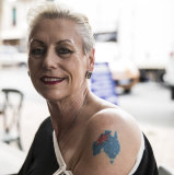 Ina Wagner, 57, shows off her Australia tattoo.
