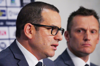 Victory chairman Anthony Di Pietro addresses the media after Marco Kurz's sacking.