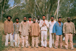 Actors playing convicts in the SBS documentary Our African Roots.