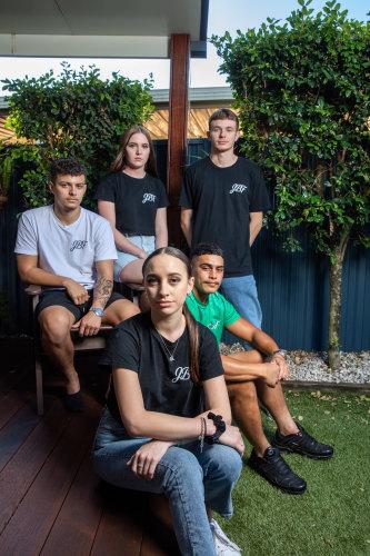 Clockwise from back left: Izaiah Kahika, Chloe Thompson, Kyah Hope, Ariki Waiariki-Katuke and Shae Graham are still processing their friend Jack Beasley's death.
