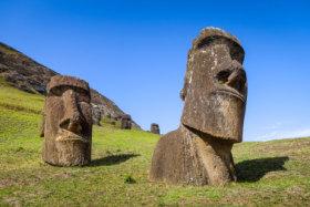 Moais statues on Rano Raraku volcano, easter island, Chile - Image
