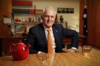 Then prime minister Malcolm Turnbull in the PM's suite at Parliament House in September 2016.