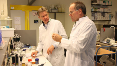 MosaMeat's Chief Scientific Officer Mark Post in the laboratory with chief executive Peter Verstrate.