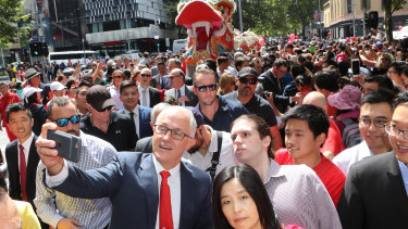 Malcolm Turnbull at Chinese New Year festivities in Melbourne on Sunday.