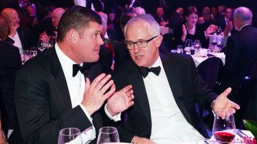 James Packer and Prime Minister Malcolm Turnbull pictured together in 2014.