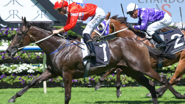 Slipper sweet: Seabrook takes the Sweet Embrace Stakes with a late charge.
