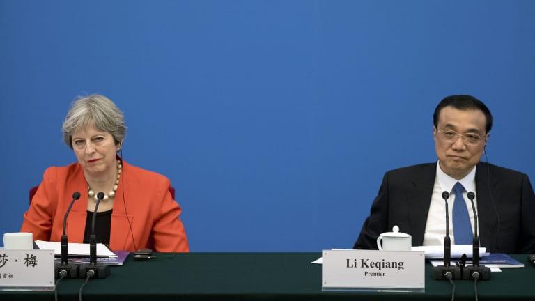 British Prime Minister Theresa May, left, and Chinese Premier Li Keqiang