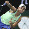 Barty wins second set, Stosur out and Tsitsipas dominant as rain sets in