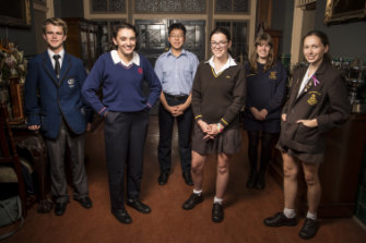 NSW Schools Debating Team members James Price, Maja Vasic, Jinyoung Kim, Ally Pitt, Laura Charlton and Anna-Sophia Zahar.